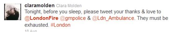 """Thanks London Fire"" tweet"
