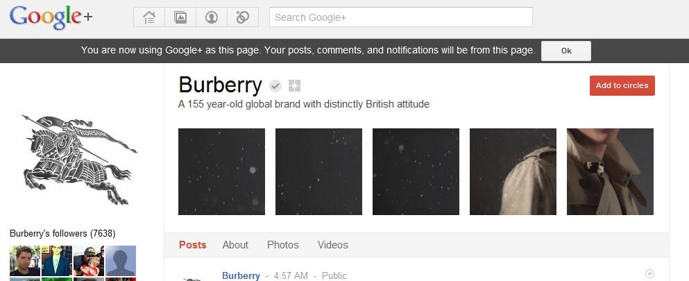 Burberry on GooglePlus