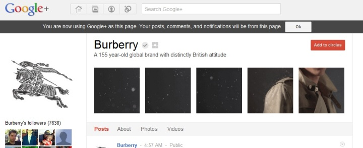 Burberry on GooglePlus