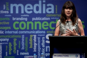 Prakky speaking at PR Directions conference