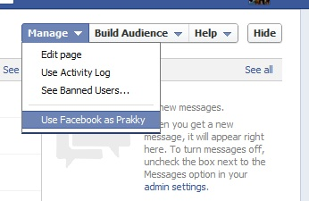 New 'manage as' area for Facebook Pages