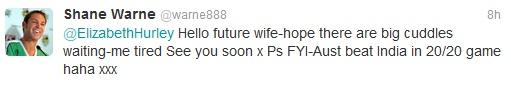 Warne tweet to Hurley