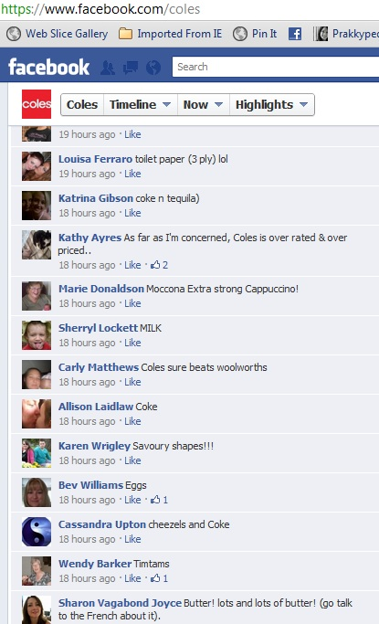 Coles Facebook page comments 2