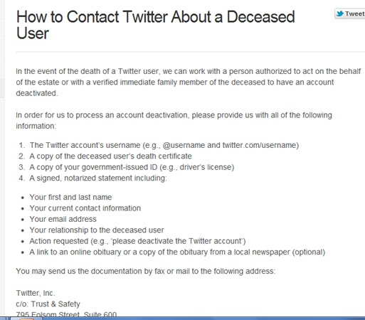 Deactivate a deceased person's Twitter account