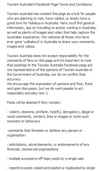 Tourism Australia Facebook guidelines