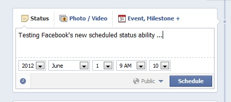 Facebook scheduling posts window
