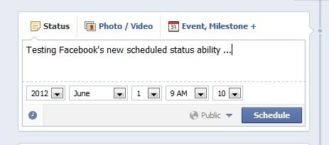 Facebook scheduling posts window