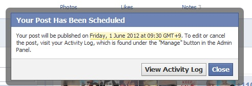 Facebook scheduling: activity log