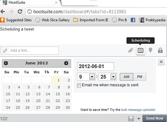 Hootsuite's scheduling window