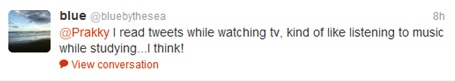 Tweeting while watching TV - comments