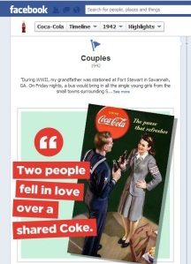 Snapshot from Coca Cola's Facebook Timeline