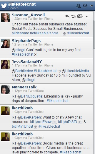 Example of a Hootsuite stream for a hashtag