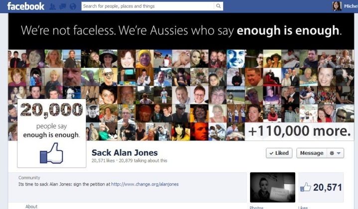 Sack Alan Jones Facebook Page