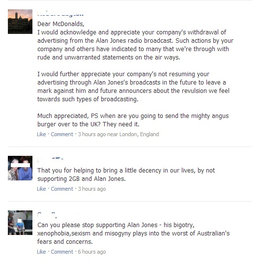 Comments on McDonald's Australia Facebook Page