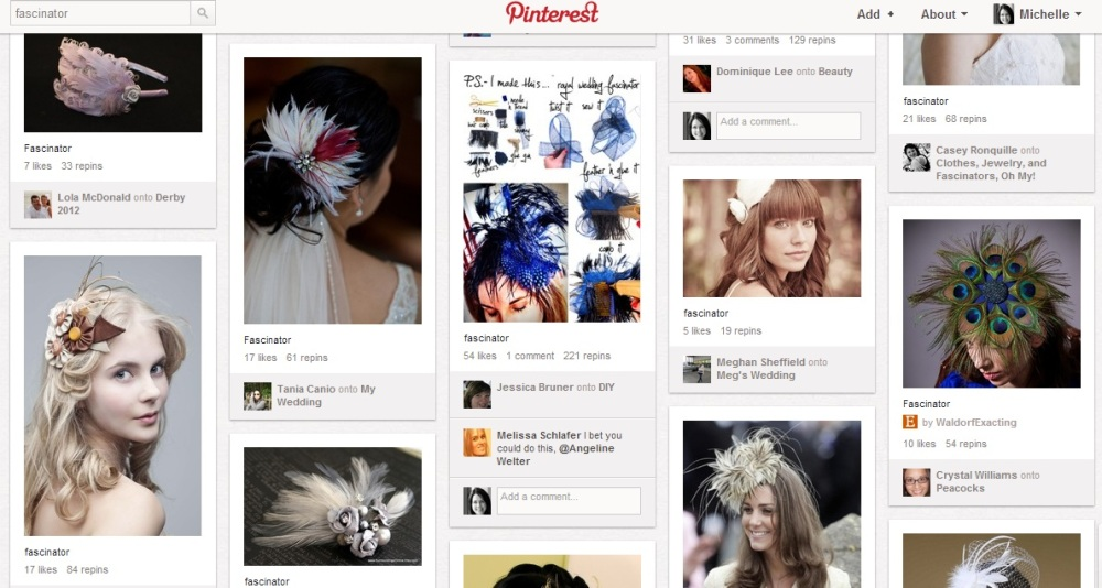 'Fascinator' search on Pinterest