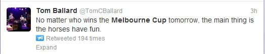 Tom Ballard #melbournecup tweet