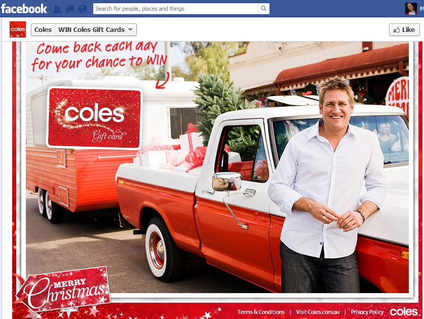 Coles has $50 gift cards to be won as part of its Christmas campaign. Leads to an app where you click to 'open Curtis's caravan' and simply get a 'win' or not message.