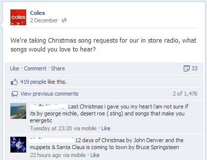 Coles has generated some lively Facebook conversations, including this gem about the perennial question: Christmas carols in the supermarket.