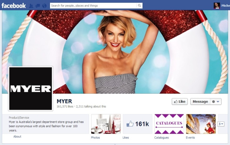 Model spokesperson Jennifer Hawkins features in a Christmas/summer cover image for Myer's Facebook page.