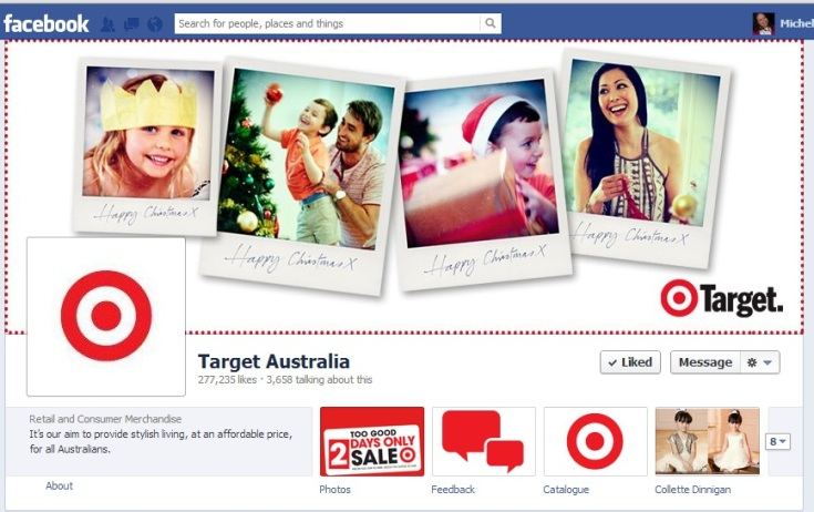 Target celebrates family Christmases in its Facebook cover image.