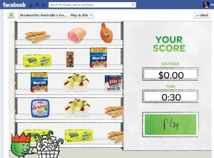 Woolworths hosts this Facebook competition, where you have 30 seconds to drag items into your trolley. Trollies with most value win. Get your mouse-hand ready, it's not as easy as it sounds!
