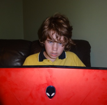 Eldest Son gaming with Alienware