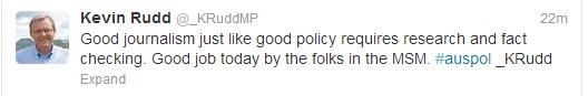 Tweet from fake Rudd account