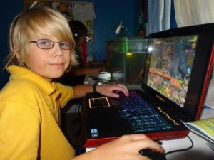 Youngest Son enjoying Alienware's M17x laptop