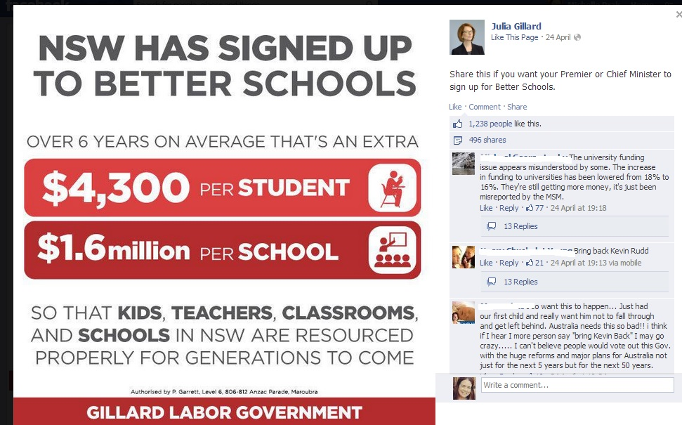 Julia Gillard PM Facebook page