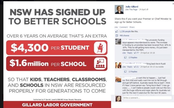 Julia Gillard PM Facebook page