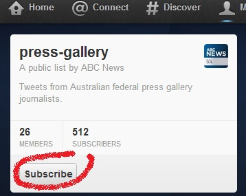 Sample of an ABC News-created Twitter List
