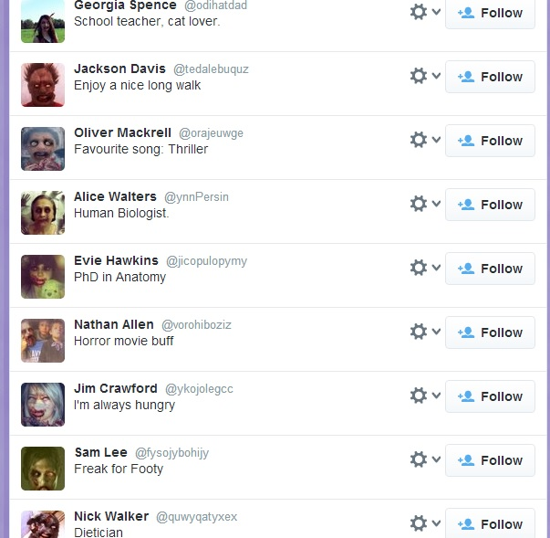 A sample of my zombie followers