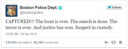 "Boston PD's famous ""captured"" tweet"