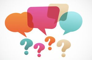 Question marks and speech bubbles