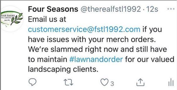 Four Seasons tweet #lawnandorder