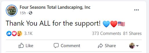 Four Seasons Total Landscaping Facebook thank you message